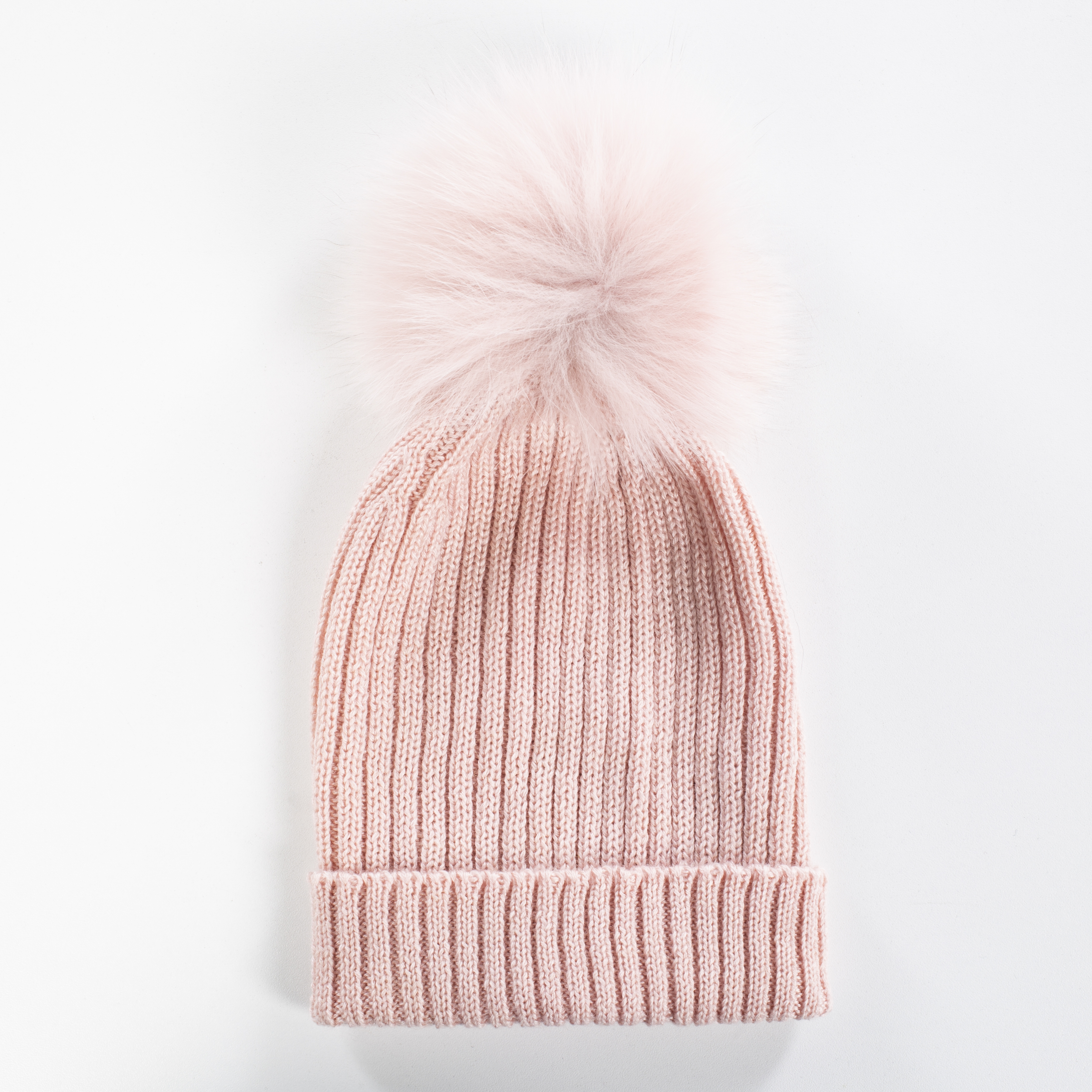 Superfine  Wool  Hat With Pink Pom Pom