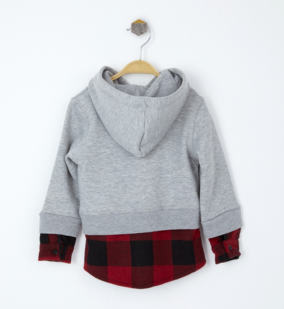 Grey hooded zip detailed sweatshirt